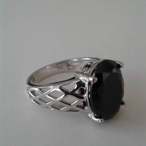 Black Spinel Solitair Ring, Size 8, Sterling